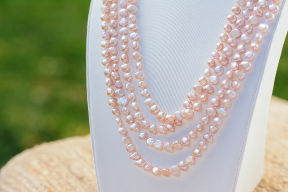 pearls strand pink sarna award pearl necklace single designs naomi winning peach jewelry