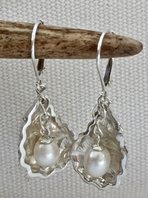 Pearl And Sterling Silver Oyster Earrings
