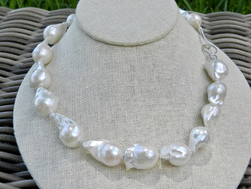 a4ea8720df144f Single Strand Necklace of Gorgeous 20+mm Freshwater Chunky Flameball Pearls  SKU N132